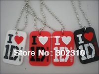 I Love 1D, One Direction Dog Tag with Ball Chain, Siliocn Dog Tag, Fashion Dog Tag, 50pcs/Lot, Free Shipping