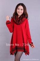 2012 Woolen dresses for women/cashmere plus size loose shirt black printed long vintage sweater/Free shipping/sr13