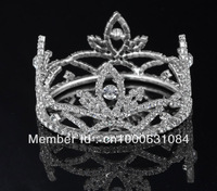Free Shipping Hot Sale 6pcs/lot Fashion Crystal Children's Tiara Rhinestone Flower Wedding Mini Crown Silver Plated Jewelry