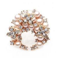 2014 hot selling accessories brooch crystal flower wreath pearl brooch rhinestone brooch crystal heart pin