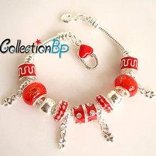 Red European Beads,Chamilia Beads,Finished Bracelets,Beaded Bracelets, Heart Lock Snake Chain(China (Mainland))