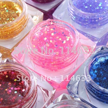 10sets/pack Great Discount! 12 color/pack glitter uv gel nail art with uv lamp gel
