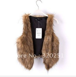 Free Shipping 2013 new oversized cards are short luxurious Faux Fur Vest Jacket shawl b069 of(China (Mainland))