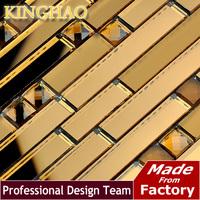 [KINGHAO] dark brown matt 13face DL03 bevelle mirror surface glass mosaic strip ceramic tile bathroom