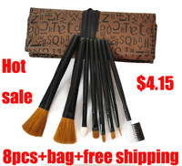 Free Shipping -2013 new portable 8 in 1 Make Up brush sets High Grade pure natural Hair Makeup brush Kit cosmetic tool bag