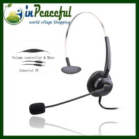 Professional monaural call center telephones headsets with 2* 3.5mm / mute switch, earphone (2pcs/lot) V201TPC