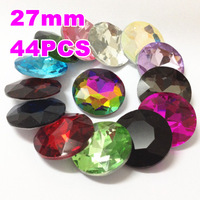 27mm 44Pcs/Lot Boashihua Pointback Round Flat Top Crystal Fancy Stone for Diy Jewellery and Garment Accessories