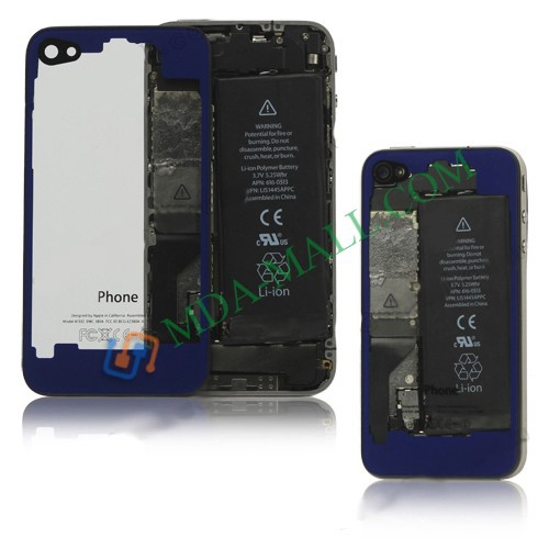 Wholesale Clear Glass Back Cover Housing Replacement for iphone 4S Free Shipping(China (Mainland))