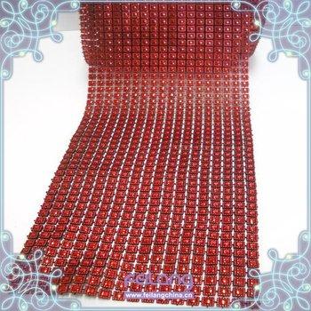 F870101 fashion plastic rhinestone mesh shiny mesh trimming 18rows CPAM free 10 yards/roll good quality siam square plastic mesh