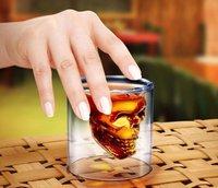 New Arrival! Free shipping 168pcs/lot Doomed Crystal Skull Shot Glass Crystal Skull Head Vodka Shot Wine Glass Novelty Cup