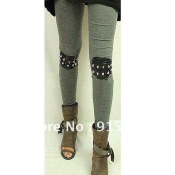 Woman Punk Knee Rivet Studs Spike Faux Leather Patch Leggings Legwear Tights