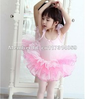 Wholesale 4 peice Lots Girls Dance Dress Fairy Princess Leotard Ballet Tutu Skate Party Show Skirt SZ3-8Y Pink 4Set Each Lot