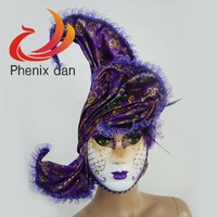 Party Masks Feather Masks Venice Halloween Masks Full Face Color Purple FM1354