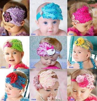 9 Design Feather and rhinestone headband, Baby Headbands, Photo Prop, Headband, Baby Bows