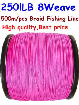 Free Shipping 500m/pcs 250lb 8 weave PE Braid Fishing Line 0.9mm Super Strong