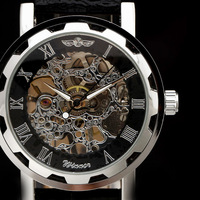 2014 new fashion skeleton winner famous design style hollow business leather men automatic mechanical self-wind wrist watch