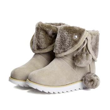 size 34-43 new design 2015 fashion fur warm ankle platform heels women boots snow autumn winter boots shoes woman #Y1077806F