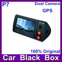 P7 Dual Lenses Car DVR Video Recorder with GPS Logger + G-Sensor + 3.0 inch TFT Touch Screen + Free Shipping