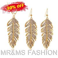 Free Shipping Wholesales Specials 18KGP South Korea Bohemian Fashion Elegant Female Models Crystal Necklace Earrings Sets 4138.