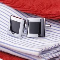 Black Enamel Silver Tone Square Shirt Cuff Cuff links for Wedding Best Man Usher New #59 (1Pair)