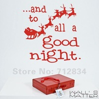 [B.Z.D] Free Shipping WALL'S MATTER  Christmas Decor All a Good Night Wall Stickers Wall Quote Decals 60x60cm