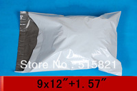"""PE White grey mailing bags Self-seal  plastic envelopes poly mailer bags 9"""" x 12""""+1.57""""(  23x35cm Totally) [200pcs]"""