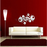 28pcs Diy home decoration circle mirror three-dimensional mirror stick home decoration mirror