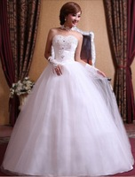Free Shipping 2014 New Style Lovers' Rhinestone Flower Bride Sweet Lace Lovely High-quality Sexy Princess Wedding Dress
