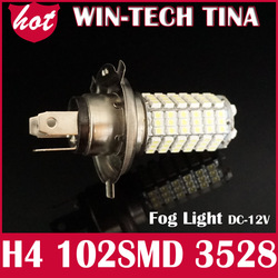 New arrival 2PCS/LOT 102 SMD LED White H1/H3/H4/H7/H8/H11 3528 Car Fog light Headlight Bulb DC 12V 6000K-7000K(China (Mainland))