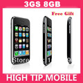 100% original factory unlocked 3GS 8GB mobile phone in sealed box Black&White 1 year warranty Free Gfit free shipping