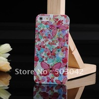 Free Shipping IMD Technique Flower and  Butterflies Hard PC mobile Back Case For iPhone 5 5S  Pink WK-1021