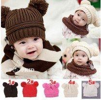 New Fashion Korean Baby Love Dual Ball Girls/Boys Wool knit sweater Cap Hat
