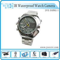 Hot Max32GB IR HD Waterproof  Watch Camera,mini voice camera,hidden camera watch JVE-3105G-1 HK Free shipping