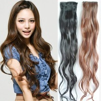 Free Shipping Hot sale Stylish fashion Women's Clip On Hair Wavy curly Hairpiece Hair Slice Extensions