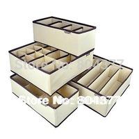 FREE SHIPPING 4 in 1 per set foldable storage box Bamboo Charcoal fibre home organizer Box for bra,underwear,necktie,socks
