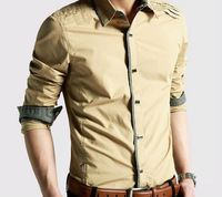 Men's long-sleeved shirt fashion casual Slim shirt thin Korean version of men's shirts free shipping