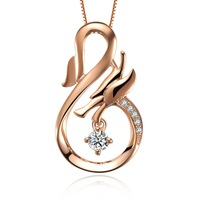 ZOCAI ANIMAL JEWLERY CELETIAL DRAGON 0.12 CT H/SI DIAMOND Pendant18K Rose Gold + 925 STERLING SILVER CHAIN Necklace FREE SHPPING