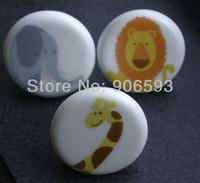 12pcs lot free shipping porcelain little giraffe cartoon cabinet knob\drawer knob\furniture handle