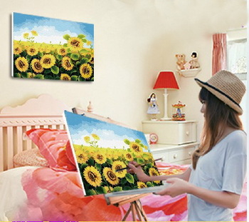 Hot sale diy digital oil painting by numbers handpainted oil painting on canvas with frame  4050