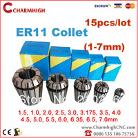 Free shipping 15pcs/set (1-7mm) ER11 Chuck collet for spindle motor/engraving/Milling/Grinding/Boring/Drilling/Tapping