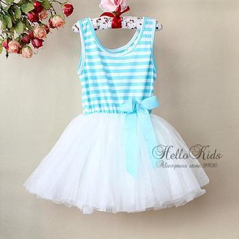 2015 Beautiful Girl Party Dress Blue Striped Princess Summer Dress Layer Chiffon And Cotton Lining Kid Dress GD21113-12^^HK