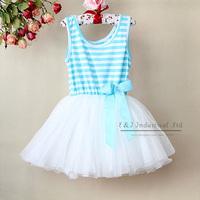 2014 Girl Pettiskirt Dresses Blue Striped Children Princess Party Dress 6Layers Chiffon And 1 Cotton Lining Childern Clothing