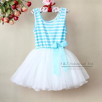 2015 Girl Pettiskirt Dresses Blue Striped Children Princess Party Dress 6Layers Chiffon And 1 Cotton Lining Childern Clothing