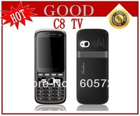 New wholesale unlocked quad band 4 sim cards TV mobile phone C8 with Russian Keyboard Free shipping