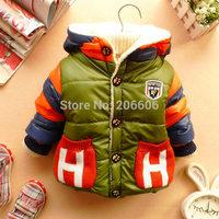 New hot warm baby boy winter coat hooded baby jacket outwear