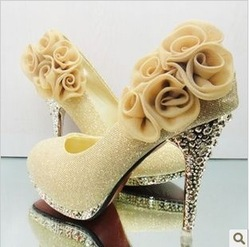 2013 new fashion wedding / banquet / dance / party rose High-heeled shoes/pumps women.High quality red gold pumps.Free shipping!(China (Mainland))