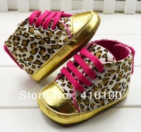 S049 free shipping !leopard Beautiful children's shoe  gold leopard  Baby Shoes color leopard soft sole baby shoe