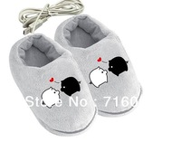 Free Shipping 1 Pair Cute Piggy USB Warmer Shoes Electric Heat Winter Foot Warm Bowtie Slipper Free Size Pink Grey Colors