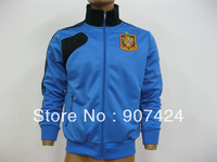 Free shipping, 2013 Spain Blue Sport Zipper Soccer Jacket,Football  Sportswear,Spain Jerseys Coat For Men