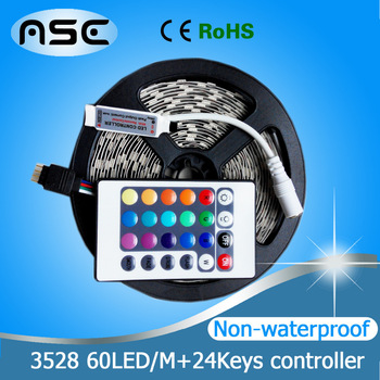 12V Non-Waterproof 3528SMD RGB Led Strip 5m 60LEDs/M IP35, Only RGB /Changeable Color With 24Keys Controller